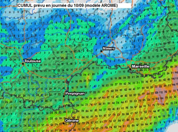 Cartographie des pluies prévues demain (cumul de la journée)