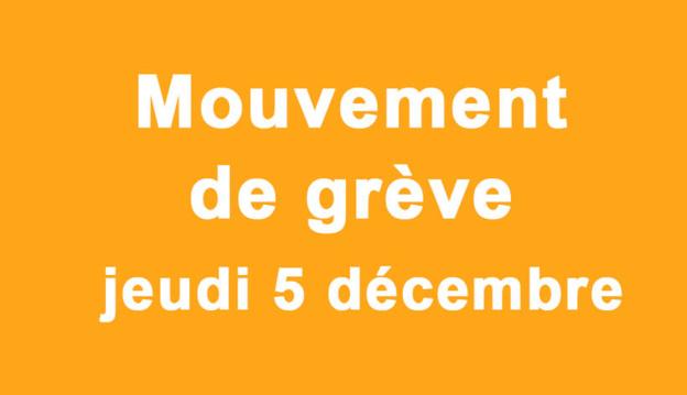 Ecole : Grève jeudi 5 décembre 2019