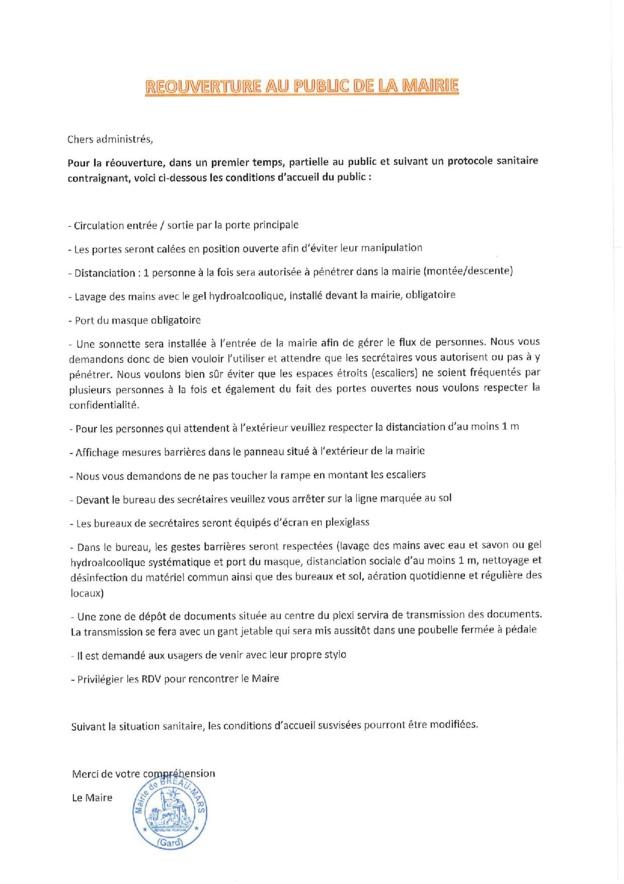 REOUVERTURE AU PUBLIC DE LA MAIRIE TOUS LES MATINS à partir du 22/06/2020 : C'est parti !