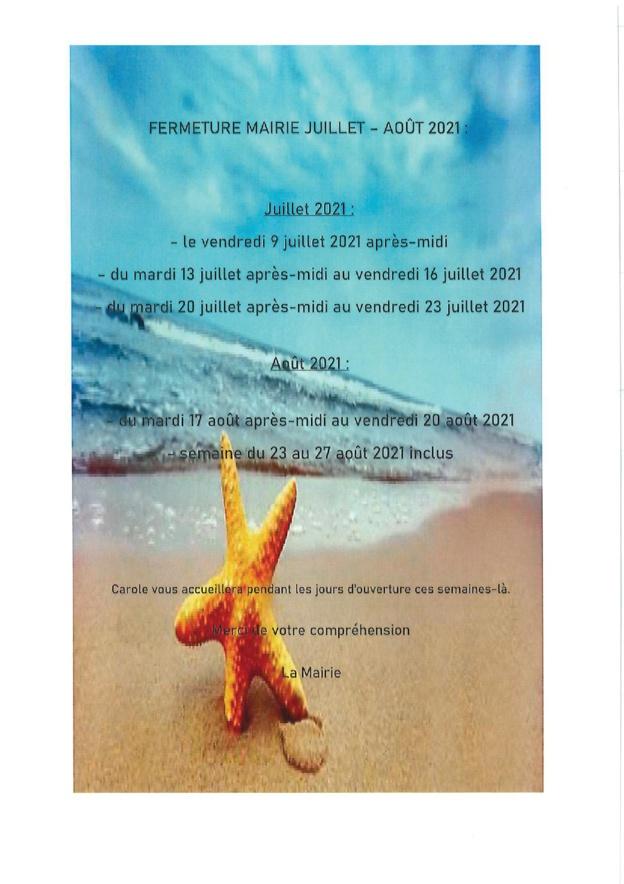 Fermeture Mairie Bréau et Mars Août 2021