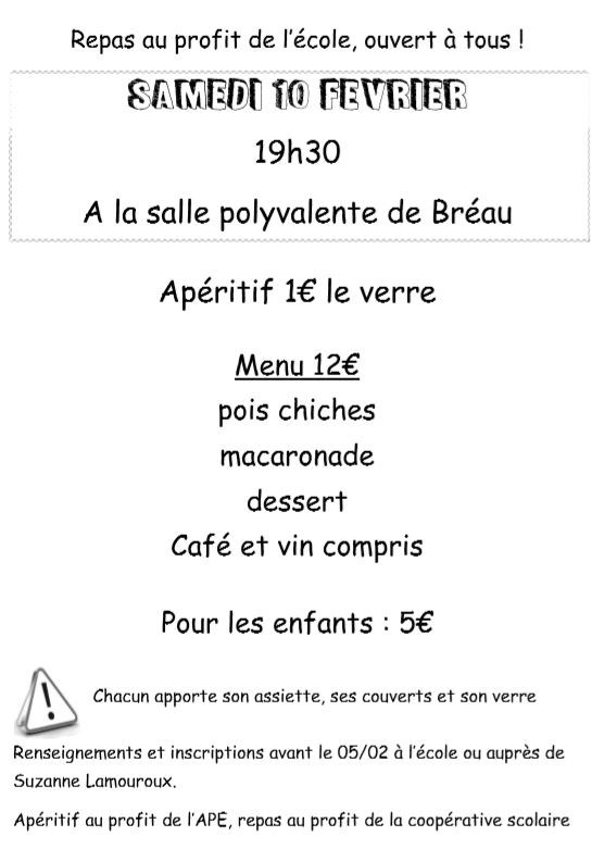 repas de l'école: samedi 10 février