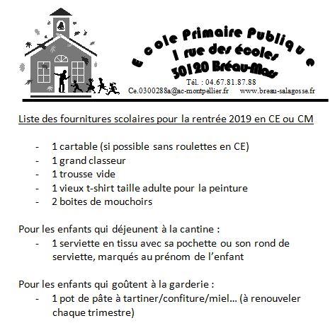 Rentrée 2019 à l'école élémentaire de Bréau