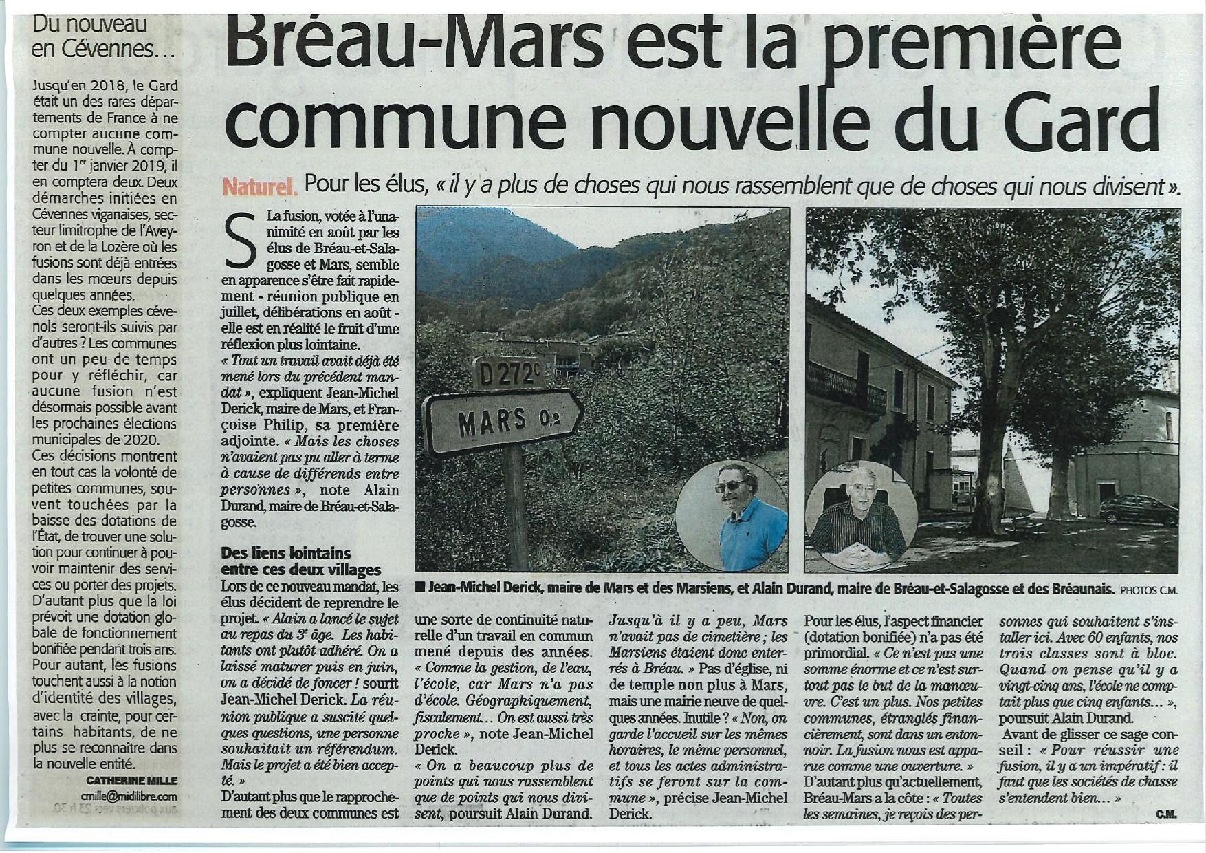 Bréau-Mars est la première commune  nouvelle du Gard !