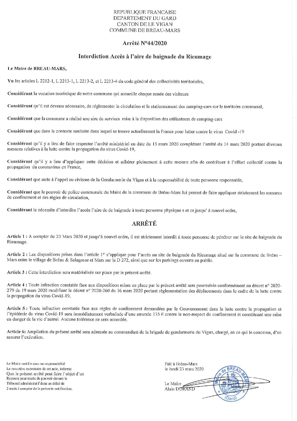 INTERDICTION ACCES SITE DU RIEUMAGE