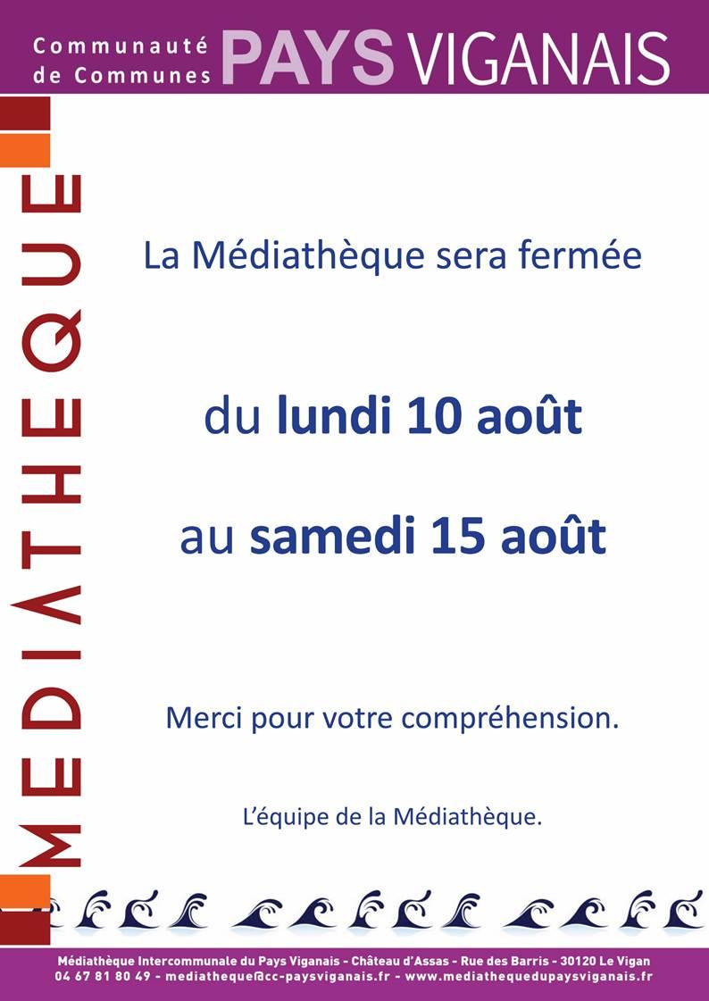 Fermeture Médiathèque du 10 au 15 août 2020