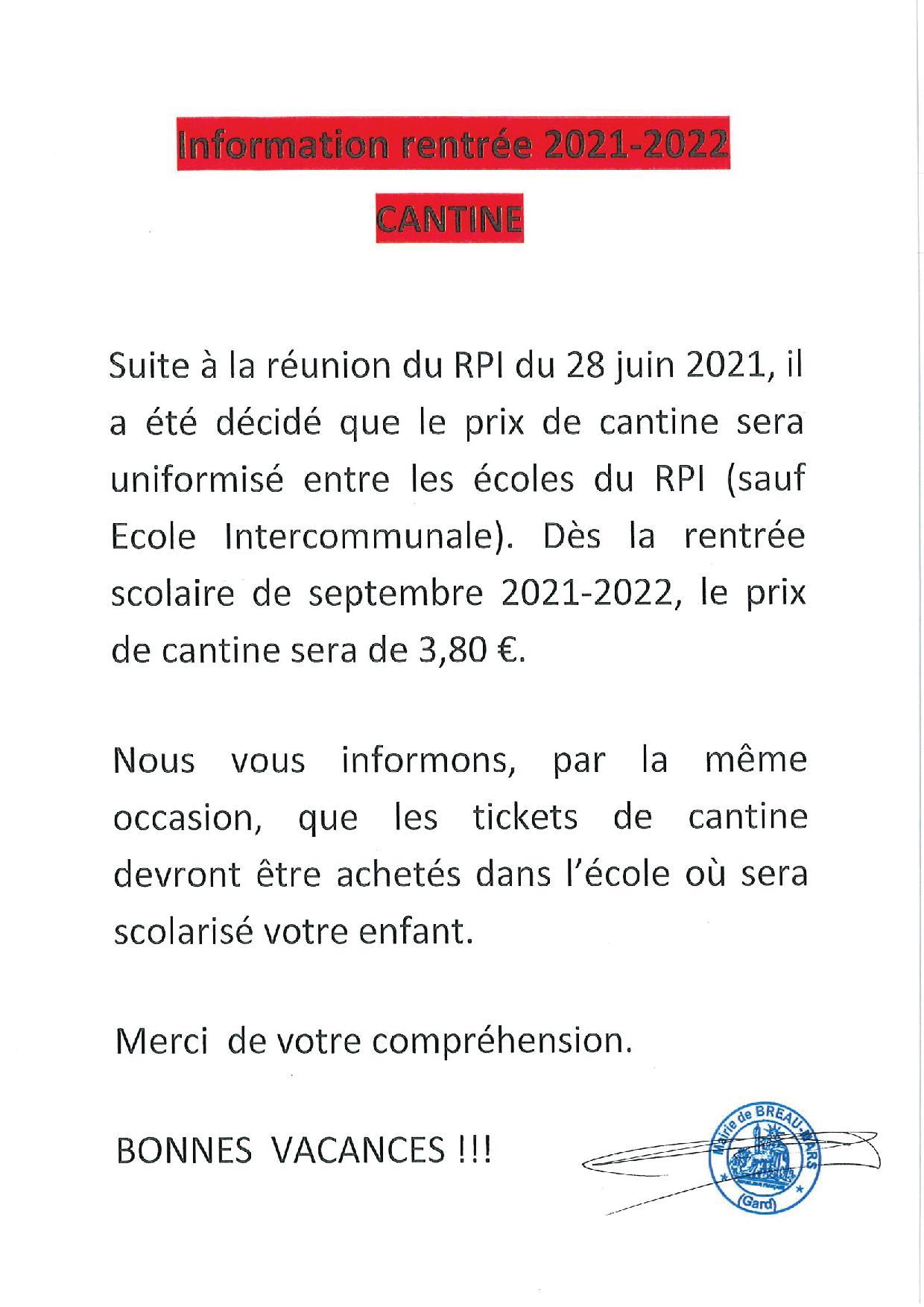 Informations cantine rentrée 2021/2022