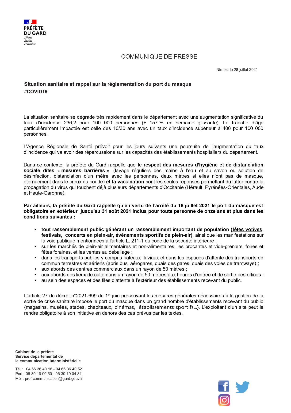 Message de la Préfecture : Covid 19 - rappel des règles du port du masque et des mesures dites barrières