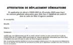 28/11/2020 : Nouvelle attestation de déplacement dérogatoire